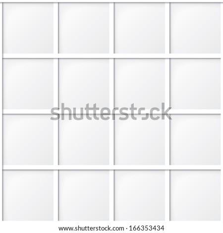 white tile seamless pattern, minimalistic background - stock photo