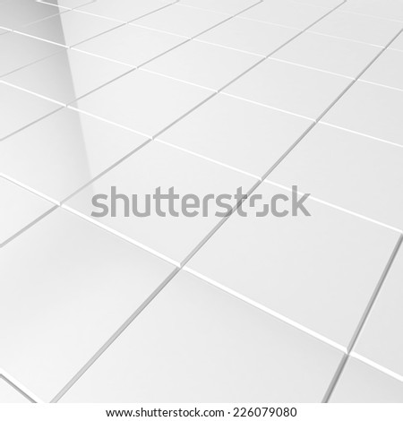 White tiles. 3d background - stock photo