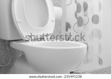 White toilet bowl - stock photo