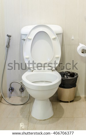 White toilet bowl and toilet paper with bin in a bathroom