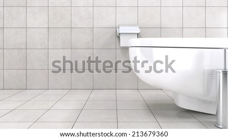 White toilet bowl in a modern bathroom - stock photo