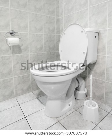 White toilet bowl in a modern bathroom. Hygiene concept. - stock photo