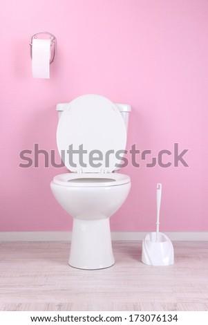 White toilet bowl in  bathroom - stock photo
