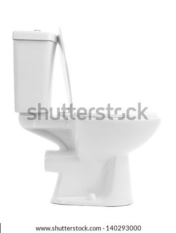 White toilet bowl, isolated on white - stock photo