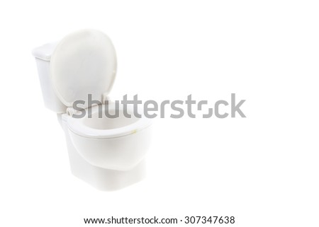 White toilet bowl on white background