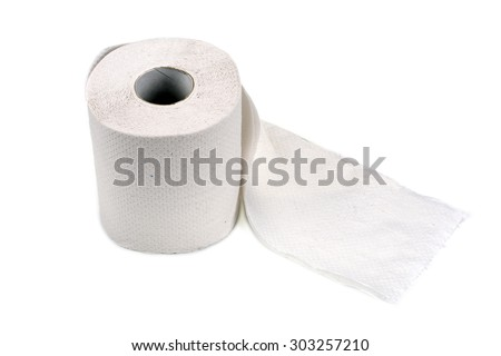 White toilet paper roll isolated on white background - stock photo