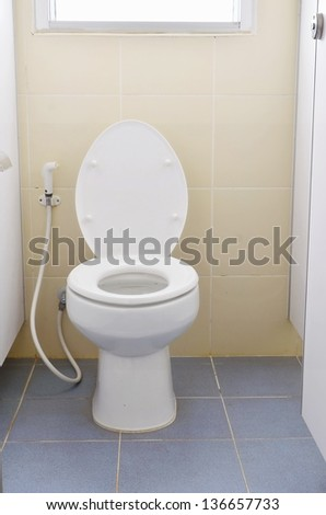 White toilet with hose pipe.