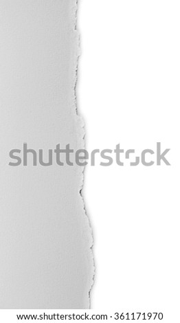 white torn paper isolated over white background - stock photo
