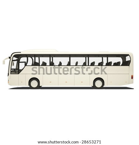 white tourist bus isolated