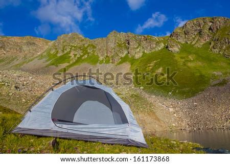 white touristic tent - stock photo