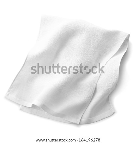 white towel isolated on white background - stock photo