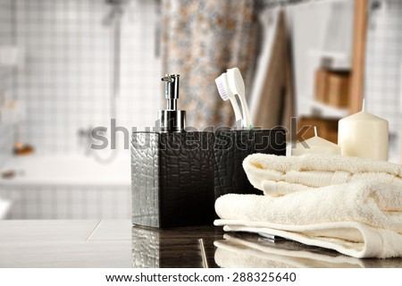 white towels and free space on top in bathroom  - stock photo