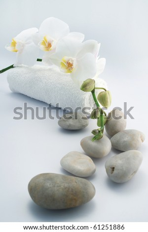 White towels and orchid on white background