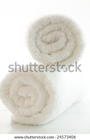 white towels on a white background - stock photo