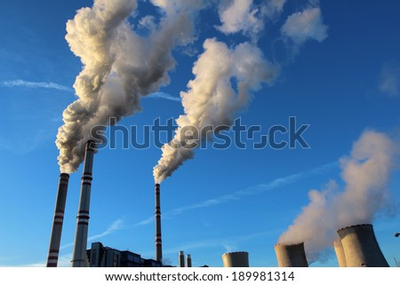 white toxic fume from coal power plant - stock photo