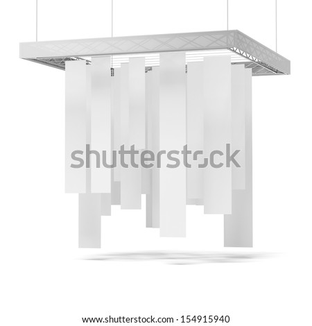 White trade exhibition booth  isolated on a white background - stock photo