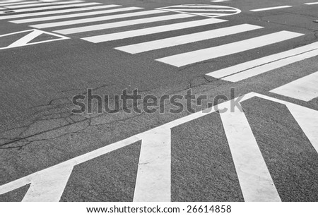 White traffic markings with a pedestrian crossing on a gray asphalt road