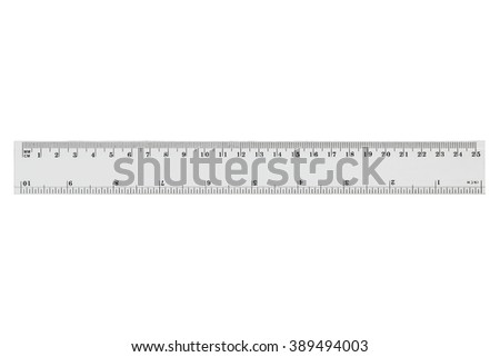 White transparent ruler, isolated on white background