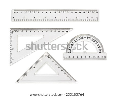White transparent rulers isolated on white background - stock photo