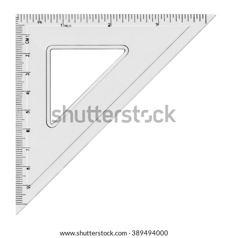 White transparent triangle, isolated on white background - stock photo