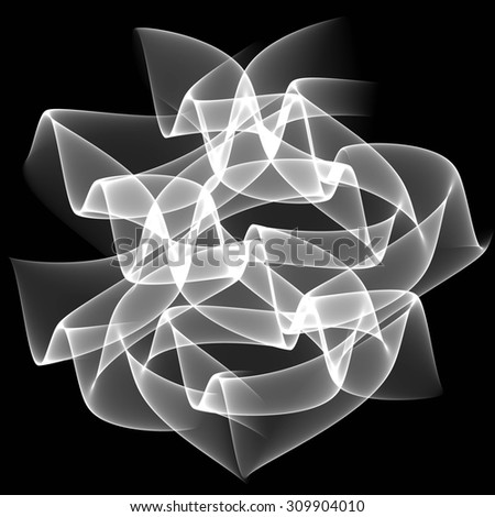 White transparent waves on black background. Abstract background illustration. Brochure template design