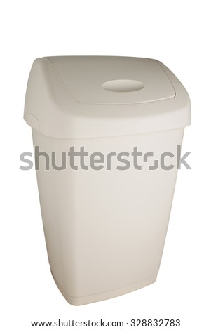 White trash can with swing lid