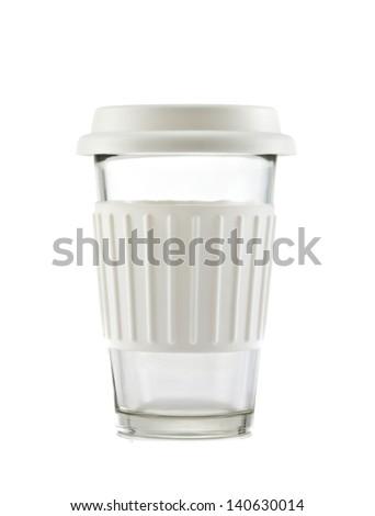 White travel mug isolated on white background - stock photo