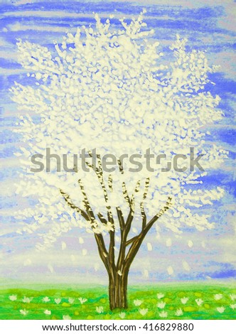 White tree in blossom on blue sky, painting, gouache. - stock photo