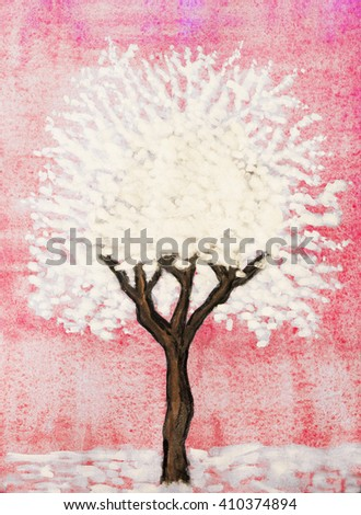 White tree on pink background, painting, watercolour and white gouache. - stock photo