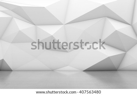 White triangular abstract background, Grunge surface, 3d Rendering - stock photo