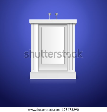 White tribune with microphone  illustration - stock photo