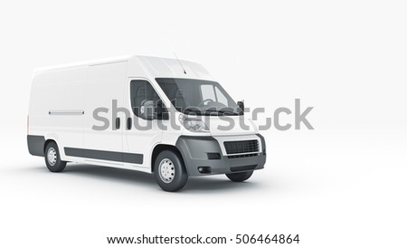 White Truck-Fast shipping. 3D rendering