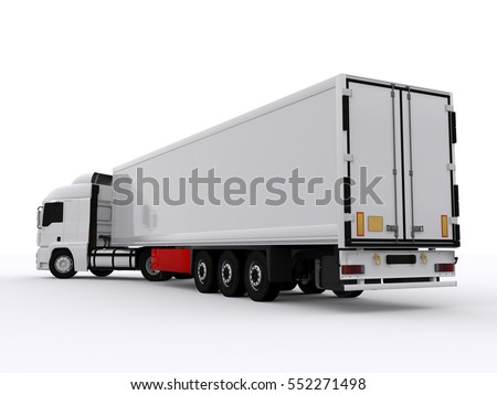 White Truck isolated 3d rendering