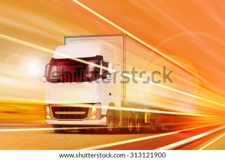 White truck moving in tunnel at night - stock photo