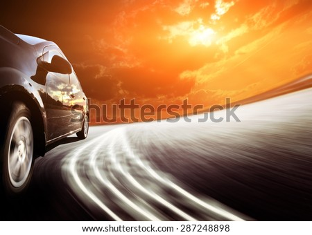 White truck on the highway. Picture with space for your text - stock photo