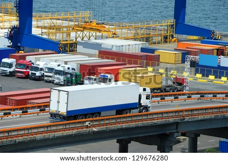 white truck transport container in port