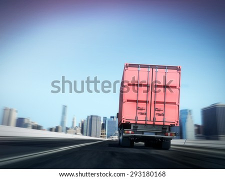 White truck with Red cargo container on blurry asphalt road with city  - stock photo