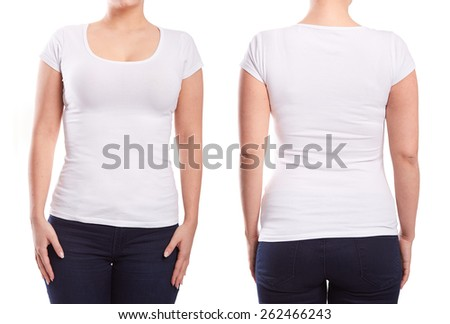White tshirt on a young woman template on white background