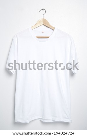 White tshirt template on hanger ready for your own graphics. - stock photo