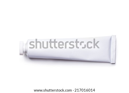 white tube isolated on white background - stock photo