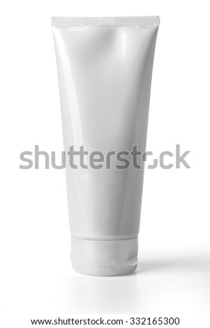 White tube isolated on white background with clipping path