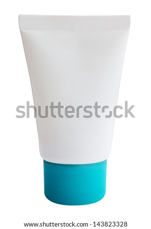 White tube isolated on white. Clipping path included. - stock photo