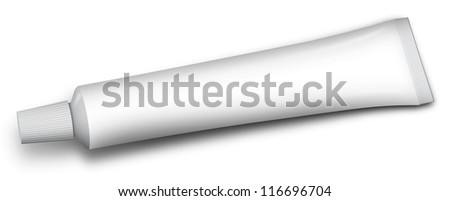 white tube of toothpaste and other paste - stock photo