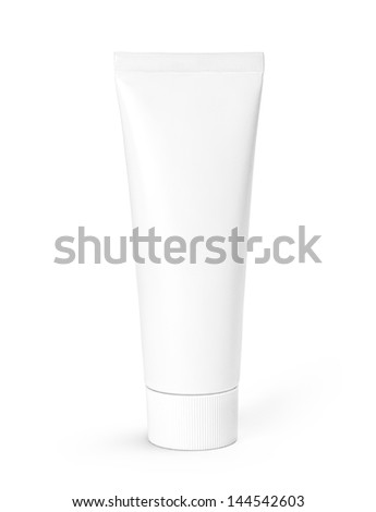 White tube of toothpaste or cream isolated on white background. Studio shot with clipping path.