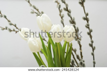 white tulips and pussy willows - stock photo