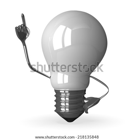 White tungsten light bulb character in moment of insight, 3d render isolated on white - stock photo