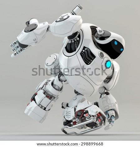 White turtle robot running / Strong robotic turtle with glowing circle moving - stock photo