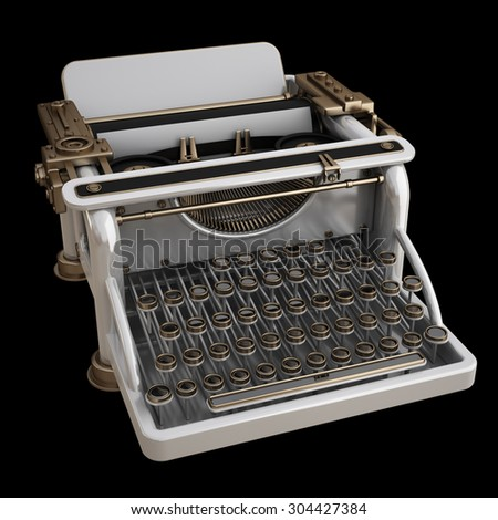 White typing Machine isolated on black background. High resolution 3d