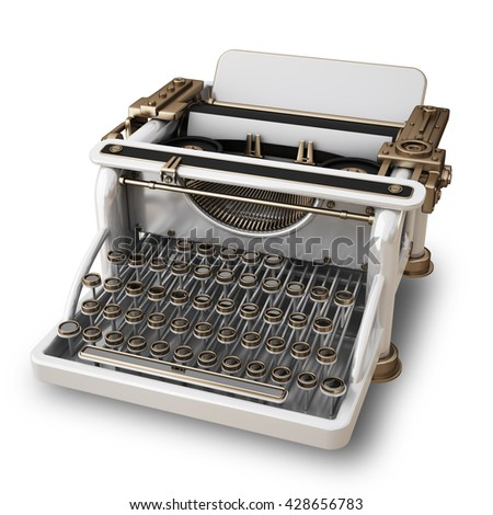 White typing Machine isolated on white background. High resolution 3d