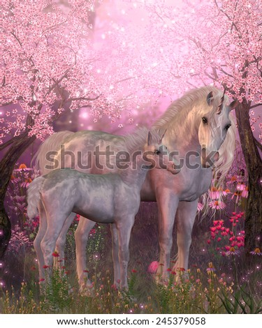 White Unicorn Mare and Foal - Spring finds a white Unicorn mare and foal resting under blossoming cherry trees. - stock photo